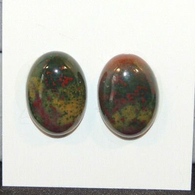 Bloodstone Cabochons 13x18mm with 6mm dome from India set of 2 (13493)