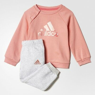 ADIDAS BADGE OF SPORT JOGGER SET Pink Grey CE9513 Jog Suit 2-3 3-4