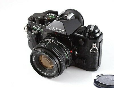 Canon AE-1 Program Camera Black Body with FD 50mm f1.8 Lens Excellent Conditions