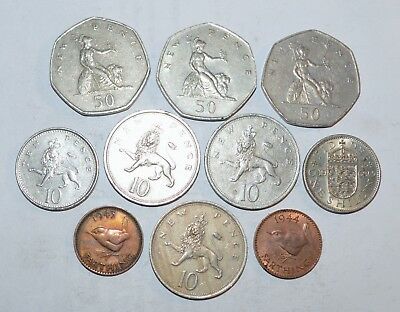 VINTAGE GREAT BRITAIN coins lot 50 10 NEW PENCE FARTHING UK 1943 - 1980