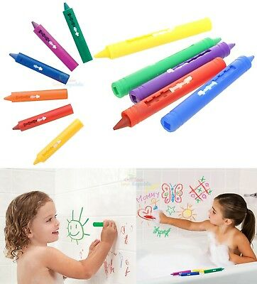 6 Baby Bath Crayons Non Toxic Colourful Fun Bath Time Drawing Toys Easy Washable