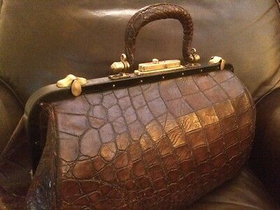 Alligator and Brass Doctors Bag Large Scales