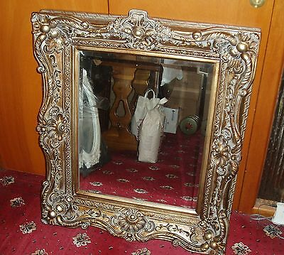Vintage Louis Baroque Antique Ornate Mirror Carved Wood Effect W78 x H87cm - NEW