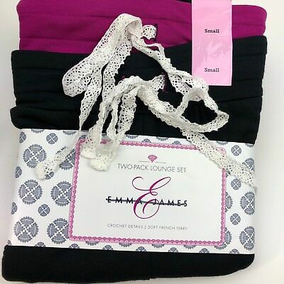Emma James Polyester 2 PACK French Terry Sleep Short Pant Set NEW