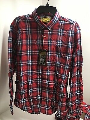 Barbour Steve McQueen Shirt Brit Check Red Slim Fit LS New sizing UK XL/US Large