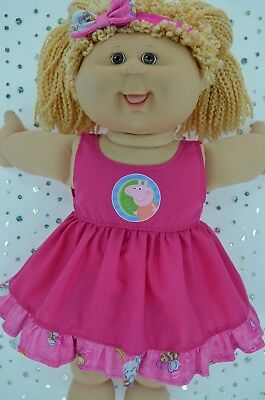 "Play n Wear Doll Clothes For 16"" Cabbage Patch PATTERN/HOT PINK DRESS~HEADBAND"