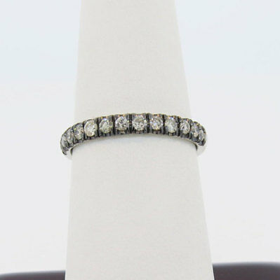 14K White Gold  Black Rhodium Plated 0.46ct Champagne Diamond Stackable Ring