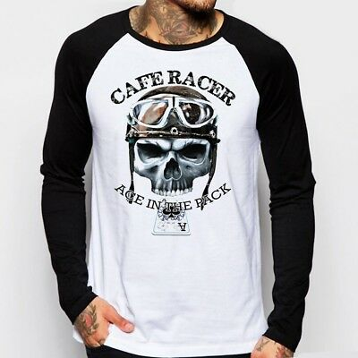 Cafe Racer Skull classic Motorcycle triumph enfield baseball t-shirt FN9160