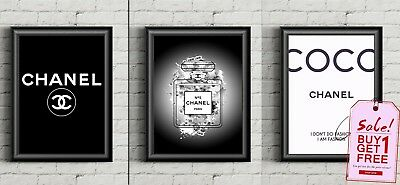 Set Of 2 Coco Chanel Colour Fashion Prints Wall Art Poster Perfume Decor Print