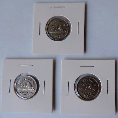 Lot of 3 Five Cents Nickel Coins Canada George VI 1937 1938 1939