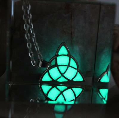 Celtic Trinity Flower of Life Sacred Geometry Luminous Silver-Plated Necklace
