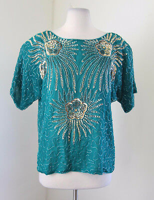 Vtg Teal Silk Beaded Sequin Evening Blouse Size S Retro Short Sleeve Floral