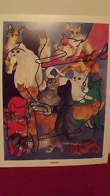 D.M.Shrock signed numbered 89/200 WHIMSEY cat print abstract/pets/cats/art