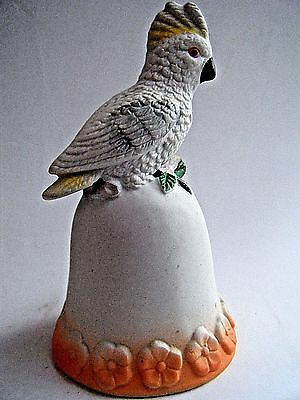 "Cockatoo Porcelain China Bell Bird White Orange 4.25"" Tall A Gift Corp NEW"