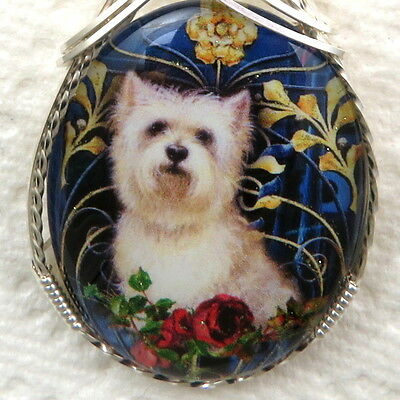 White Terrier Dog Glitter Glass Cameo Pendant .925 Sterling Silver Jewelry