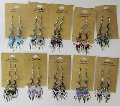 Wholesale Lot of 10 Different SPIRAL Dream Catcher Earrings w/Dangles