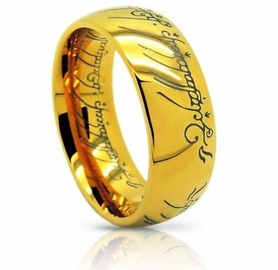 Size 6-16 Lord of the Rings *The One (Tungsten) Ring* 18k Gold Plating