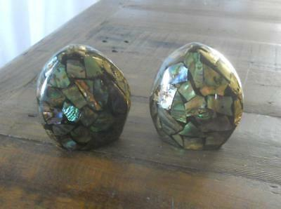 Vintage Souvenir Fiordland New Zealand Paua Shell Set Salt & Pepper Shakers