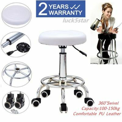 Adjustable White Salon Massage Stool Beauty Massage Swivel Chair Studio Medical
