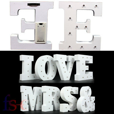 Vintage Wooden Alphabet LED Marquee Letter Symbol Lights Sign Xmas Wedding Party