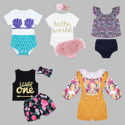 1f21e4f405d Newborn Infant Baby Girl Birthday Outfit Party Clothes Set Summer Playsuit  0-24M