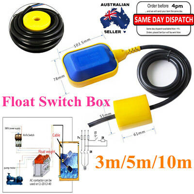 3/5/10M Float Switch Water Tank Level Controller Sensor Liquid Fluid AU Stock