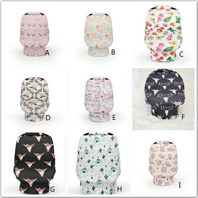 4-in-1 Stretchy Car Seat Cover Canopy Newborn Baby Infant Nursing Cover Set 2pc