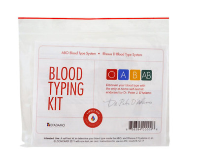New D'adamo Personalized Nutrition Blood Typing Kit Home Test Abo Type System