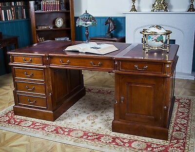 Mahogany Executive Partners Desk Office Leather Ox Blood Red 6 Drawer Antique