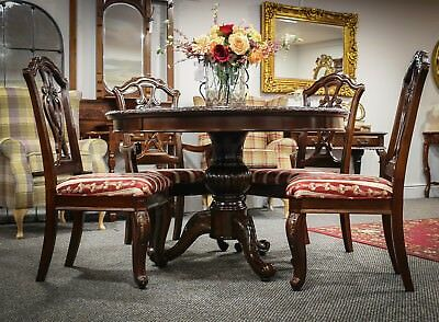 Mahogany Round Dining Table Antique Style Carved Pedestal Inlay Top 120cm Dia.