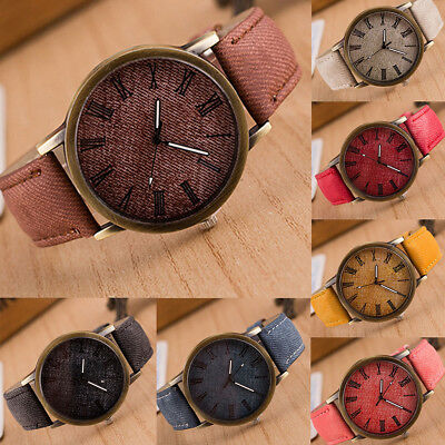 Vintage Mens Womens Date Leather Band Analog Quartz Sport Wrist Watch Watches