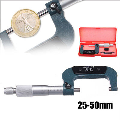 25-50mm 0.01mm Metric External Outside Micrometer Caliper Guage Measuring & Case