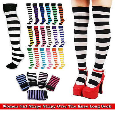 Ladies Stripe Over the Knee High Socks Women Thigh High Girls Stretchy Socks New