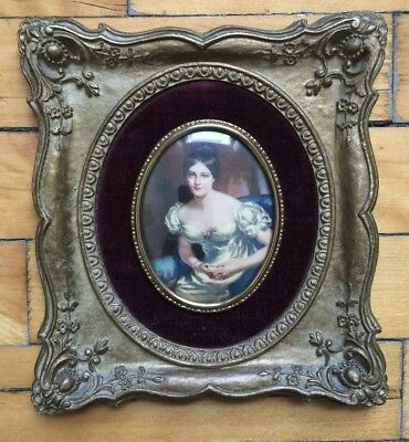 VINTAGE Bubble Glass and Ornate Frame Countess of Blessington - CAMEO CREATION!!