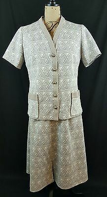 LESTER PAUL Beige Geo Print Dress & Jacket Vintage Size 16 Work Costume Theater
