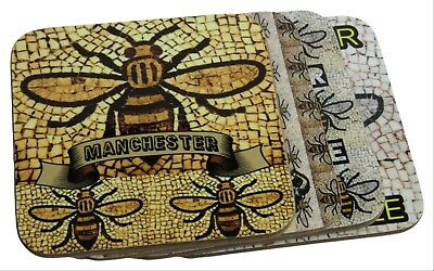 Manchester Worker Bee Set Of 4 Drinks Coasters, Unique Deigns, Hand Printed.