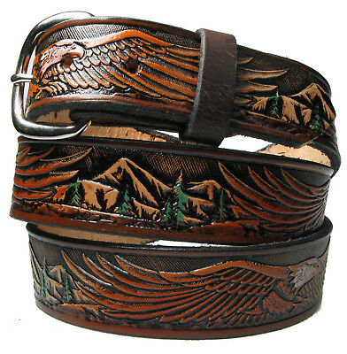 """American Eagle,Genuine Leather,100%Top Grain,1 1/2""""wide,US Seller&Made.H.tooled"""