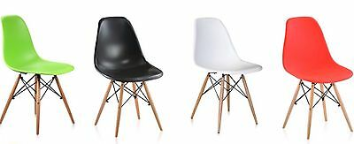 Set of 2 Eames Style DSW Wood Base Mid Century Modern Shell Dining Side Chair,