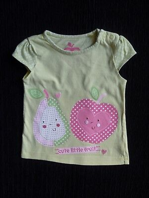 Baby clothes GIRL 6-9m apple green/pink fruit short sleeve t-shirt SEE SHOP!