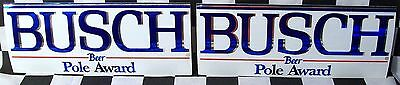 """Rare Lot Of 2 Vintage 9"""" X 3.5"""" Busch Beer Pole Award Nascar Decals / Stickers!!"""