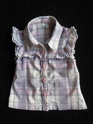 Baby clothes GIRL 9-12m mauve,pink,white check smocked SS blouse/top SEE SHOP!