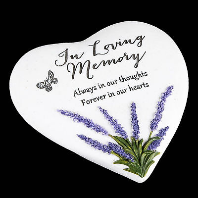"""Thoughts of You"" Lavender Stone Heart Memorial Plaque - In Loving Memory"