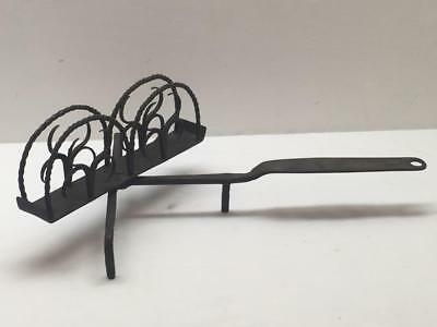 Early Primitive Wrought Iron Blacksmith Hearth Toaster Antique Fancy Hand Forged