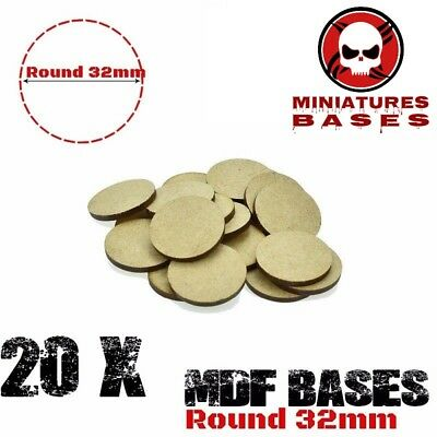 20x MDF Bases - 32mm Round bases- Basing Laser Cut Wargames wood FREE SHIPPING