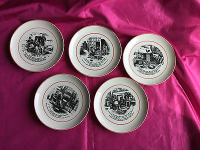 Rare set of 5 Vintage Black and Red Picture Plates