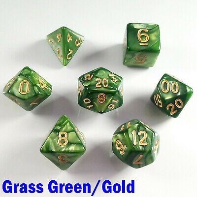 Pearl Poly 7 Dice RPG Set Grass Green Gold Pathfinder 5e Dungeons Dragons D&D HD