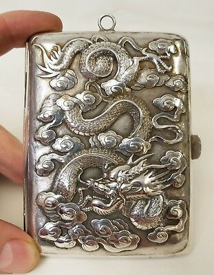 Fine Antique Signed Hallmark Chinese Repousse' Silver Dragon Cigarette Case