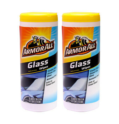 50 Count Armor All Glass Cleaner For Car Windows Wipes Plastic Canister