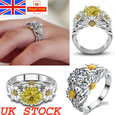 UK Solid Sterling Silver Crystal Sunflower Ladies Statement Band Ring Women Gift