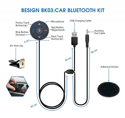 Bluetooth 4.1 Car Kit Hands-Free Talking Music Streaming Wireless Audio Receiver